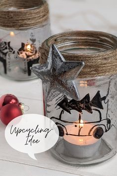 Upcycling Idee - leere Gläser bemalen: Windlichter basteln kann man gut als Upcycling DIY. Bemalen kann man die Windlichter Gläser mit Weihnachtsmotive.