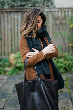 fall/winter outfit #fashion #scarf #bag #brown