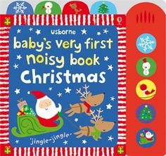 """""""Baby's very first noisy book: Christmas"""" at Usborne Children's Books - a gorgeous book for #babysfirstChristmas. Little ones will love to press the buttons! #musical #sounds #noisy #babybooks #Christmas #babysveryfirst"""