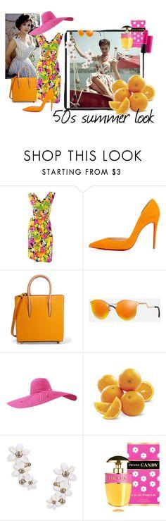 """50s summer look"" by m-illumino-di-glamour ❤ liked on Polyvore featuring Balenciaga, Christian Louboutin, Fendi, Kate Spade, Prada and MAC Cosmetics"