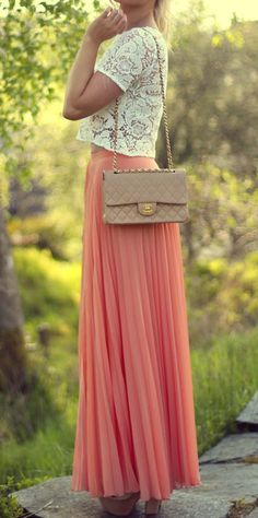 coral maxi skirt with lace