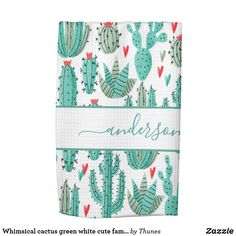 Shop Whimsical cactus green white cute family monogram kitchen towel created by Thunes. Cute Family, Kitchen Supplies, Animal Skulls, Cacti And Succulents, White Shop, Kitchen Towels, Pink And Green, Whimsical, Cactus