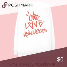 (ISO) Ariana Grande One Love Manchester Crew Neck Ariana Grande crew neck from One love Manchester. I've been dying to get for awhile since I first saw this. I am willing to pay a reasonable price for this!!!! And I'm looking for more other Ariana merch❤️❤️❤️ Ariana Grande Tops