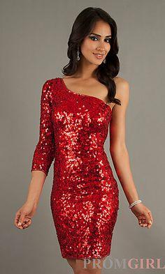 one shoulder sequin short dress