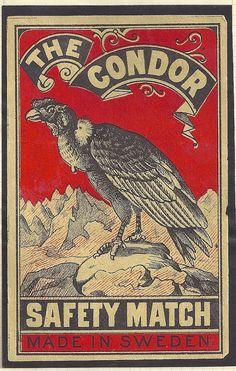 Condor Swedish matchbox label