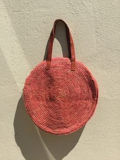 Round Straw bag, market bag, French market bag, raffia bag, straw bag, Tote, beach bag, handbag, market bag, crochet bag, rattan bag, gift by hippiefishbeachart on Etsy