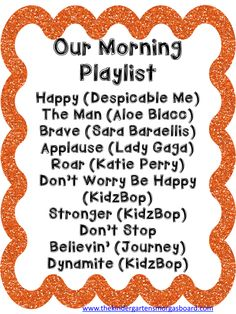 A playlist for morning arrival in your classroom. Upbeat/fast/exciting music gets our kids awake and helps them start the day in a more energetic and alert mood! Great classroom management tool, love the idea of a morning playlist Kindergarten Smorgasboard, Kindergarten Classroom, Classroom Activities, Classroom Organization, Classroom Ideas, Kindergarten Songs, Listening Activities, Kindergarten Procedures, Preschool Classroom Management