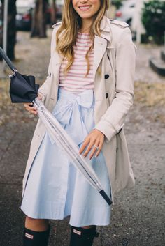 A Week of Rain - Burberry Trench, J.Crew Shirt, Club Monaco Skirt, Hunter Boots and Umbrella