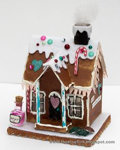Layers of ink - Make your own paper Gingerbread House by Anna-Karin. Step-by-step tutorial, using the Village Dwelling Sizzix die by Tim Holtz, Ranger inks and accents, idea-ology embellishments and lots of rhinestones.