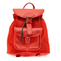 Suede Leather Backpack, Handmade in Greece, Colors: Coral, Tan /Light Brown, Black