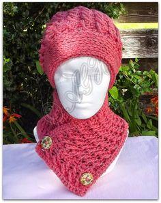 AG Handmades: Crossed Ripple Slouchy Hat and Neckwarmer