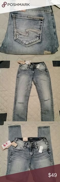 Silver skinny jeans size 26 x 31 New with tags silver mid-rise skinny leg jeans please see pictures Silver Jeans Jeans Skinny