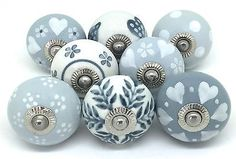 8 These Please Ceramic Door Knobs Drawer Knobs Cupboard Knobs Grey & White S8-16