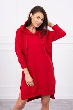 Rochie rosie asimetrica casual-sport cu gluga Long A, Hooded Jacket, Modeling, Cold Shoulder Dress, Lady, Sport, Sleeves, Cotton, How To Wear