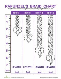 Rapunzel is locked in a tower with nothing to do but play with her hair. As the year goes on she decides to keep a braid chart for every foot her hair grows. Help her measure her braid! Measurement Kindergarten, Measurement Worksheets, Preschool Math, Kindergarten Math, Math Activities, Disney Activities, Rapunzel Story, Rapunzel Braid, Math Bulletin Boards