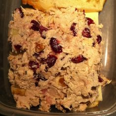 Chicken Salad: Chicken. mayo, walnuts, dried cranberries, onion, dried basil, cayenne pepper. SOOO GOOD!!!