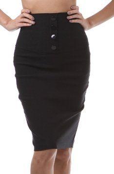 Petite High Waist Stretch Pencil Skirt with Four Button Detail - http://cheune.com/a/14758619945496321