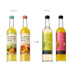 //Art direction, Design//Completely redesigned Premium Fruit Wine, launched in Sold 4 times more than the previous label. This product combines fruit juice and wine and targets female consumers. Wine Packaging, Wine Design, Fruit Of The Spirit, Beverages, Drinks, Fruit Juice, Bottle, Behance, Google Search