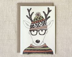 hipster reindeer holiday card | Wit & Whistle