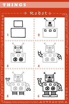 A piece of paper and pencil is all you need to try this 6 step robot drawing...hope you will try it.  Enjoy!