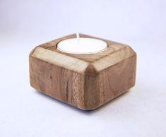 Hand Wrought Black Walnut Wood Tea Light Candle Holder with Soy Candle - Gemstone Shaped Beveled Edges