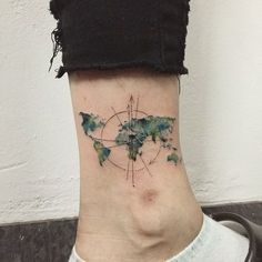 world map + compass #tattoo #tattoos #ink #worldmaptattoo #compasstattoo #watercolortattoo #hongdam