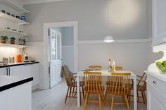 grey and white kitchen walls.