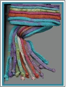 "I need to make one of these!  Marzipanknits: Free machine knitting pattern for an easy scarf - ""The Stripster"""
