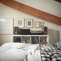 bedroom stereo Furniture, House, Ikea Expedit, Ikea, Table, Entryway Tables, Home Decor, Bed, Bedroom