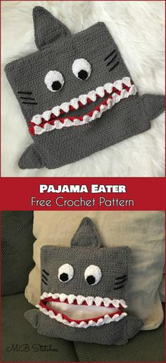 Baby Knitting Patterns Pillow Pajama Eater - Pillow Free Crochet Pattern - PJ's Case/Holder for kids Crochet Pillow Cases, Crochet Pillow Pattern, Baby Blanket Crochet, Crochet Baby, Crochet Cushions, Afghan Crochet, Crochet Beanie, Crochet Gratis, Cute Crochet