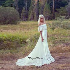 Lindo Bohemian Vestidos de Casamento Off the ombro Chiffon Praia vestido de Noiva Boho Vestido de Noiva Vestidos de Novia em Vestidos de casamento de Casamentos & Eventos no AliExpress.com | Alibaba Group