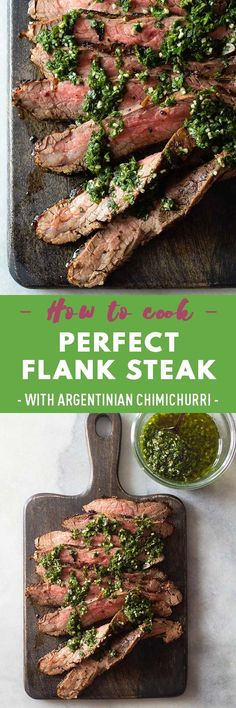 Flank Steak with Argentinian Chimichurri is an easy dinner recipe, taking less than 20 minutes to make.This budget-friendly meal simply bursts with flavor! This recipe is a must-make. Healthy Meats, Healthy Recipes On A Budget, Vegetarian Recipes Easy, Healthy Appetizers, Healthy Cooking, Appetizer Recipes, Real Food Recipes, Lamb Recipes, Delicious Recipes