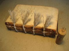 fraying the ends of the cords by Craig Fansler Bookbinding Tools, Bookbinding Tutorial, Book Crafts, Arts And Crafts, Book Repair, Medieval Books, Leather Bound Books, Book Art, Artist's Book