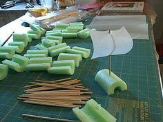 raingutter regatta boats - pool noodle, bamboo skewer, parchment paper.