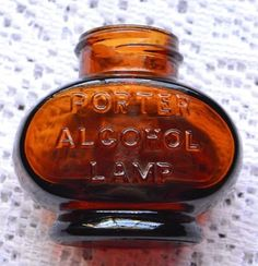 Vintage 1920's Mini Porter Alcohol Lamp Amber Glass Base Part Replacement Repurp