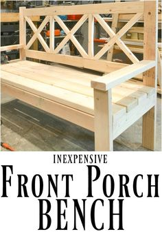 This DIY front porch bench is not only beautiful, but it is huge! Perfect for lazy evenings taking in the scenery. #diy_bench_back