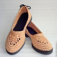 Обувь ручной работы. Балетки вязаные Шик , бежевый, хлопок. Елена Гончарова  Вязаная обувь. Интернет-магазин Ярмарка Мастеров.