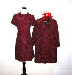 Vintage Dress with Coat 50s Red Timeless by CheekyVintageCloset, $94.00