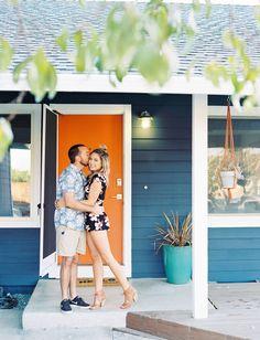 Mid Century Modern Home Tour // Blue house with an orange door
