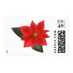 #wedding - #Elegant Red Poinsettia   Wedding Postage Stamp