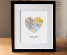 Heart Map Wedding Gift Anniverary Gift Gift for Couple
