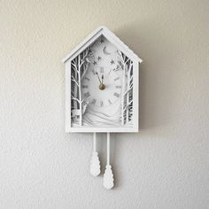 White Cuckoo Clock - Winter Midnight Forest Diorama Laser Cut Wood Wall Hanging