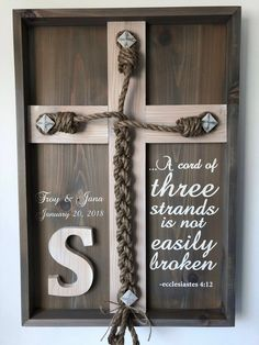 Wedding unity ceremony braid w ecclesiastes 4 12 scripture and personalized names dates gray whitewashed a cord of three strands unity braids unity alternative renewing vows Wedding Tips, Fall Wedding, Diy Wedding, Wedding Planning, Wedding Unity Ideas, Wedding Unity Ceremony, Dream Wedding, Christian Wedding Ceremony, Wedding Inspiration