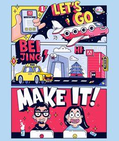 Adobe Make It China on Behance Flat Design Illustration, Line Illustration, Character Illustration, Digital Illustration, Gfx Design, Design Logo, Graphic Design Posters, Graphic Design Inspiration, Poster Designs
