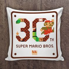 Super Mario Bros. 30th Anniversary Video Game Pillow by VGPrint