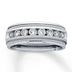 Jared White Gold 1 Carat t. Diamond Band for Him, Wedding Men, Wedding Bands, Wedding Ideas, Wedding Stuff, Dream Wedding, Wedding Wows, Hair Wedding, Wedding Beauty, Boho Wedding