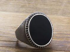925 K Sterling Silver Man Ring  Black Onyx Gemstone 11,75 US Size B15-63707 #istanbuljewelry #Cluster