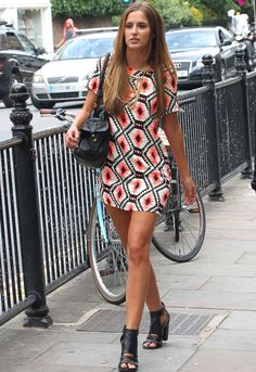Looking forward to Summer! Made in Chelseas' Lucy Watson in an orange, black and white mini dress #cutedress