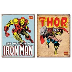 Nostalgic Superhero Tin Metal Sign Bundle - 2 comic book hero signs: Iron Man Retro & Thor Retro 0128 by American Yesteryear. $25.00. Each corner has a pre-punched hole for easy hanging.. Rolled and hemmed edges for safe handling.. Officially licensed products.. TIN SIGN Dimensions (each sign) : 16 x 12.5 inches.. Bundle of 2 BRAND NEW tin metal signs: Iron Man Retro & Thor Retro. This is a bundle of 2 BRAND NEW items: ITEM 1 : A nostalgic Retro Iron Man tin metal sign reproduct...