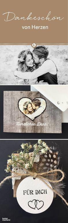 Weil es ohne eure Lieben nie so schön geworden wäre! Sagt stilvoll Danke mit euren eigenen Bildern von eurem schönsten Tag. Die Dankeskarte aus naturbelassenem Kraftpapier bietet dafür viel Raum für eigene Gestaltung.